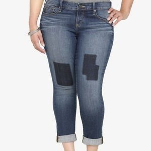 TORRID boho patch skinny cropped jeans